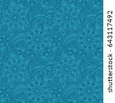 lue color arabic paisley... | Shutterstock . vector #643117492