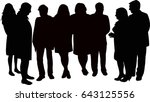 people standing and talking ... | Shutterstock .eps vector #643125556