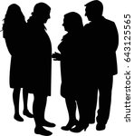 people standing and talking ... | Shutterstock .eps vector #643125565