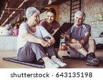 senior couple in rehabilitation ... | Shutterstock . vector #643135198