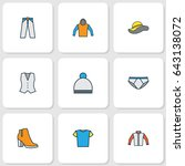 garment colorful outline icons... | Shutterstock .eps vector #643138072
