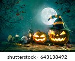 halloween pumpkin head jack... | Shutterstock . vector #643138492
