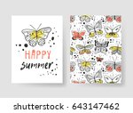 set of templates for summer... | Shutterstock .eps vector #643147462