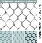 chicken wire  well worn. three... | Shutterstock .eps vector #643152478