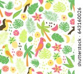 seamless pattern with colorful... | Shutterstock .eps vector #643160026
