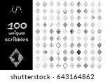 vector set 100 scribbles scrawl ... | Shutterstock .eps vector #643164862