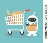 cute white robot in a grocery... | Shutterstock .eps vector #643166716