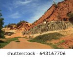 red stream in mui ne with a... | Shutterstock . vector #643167706