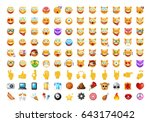 set of 108 cute emoticons on... | Shutterstock .eps vector #643174042