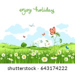 summer vector landscape with... | Shutterstock .eps vector #643174222