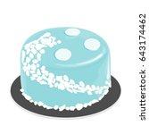 light blue glaze cake . dessert ...   Shutterstock .eps vector #643174462