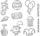 various circus object of doodle ... | Shutterstock .eps vector #643175122