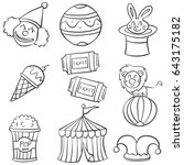 object circus hand draw doodles | Shutterstock .eps vector #643175182