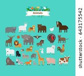 animals flat design icons on... | Shutterstock . vector #643175542