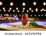 Ice Tea And Summer Bar At Night