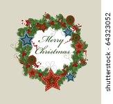 christmas wreath. vector | Shutterstock .eps vector #64323052
