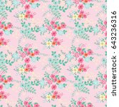 flowery bright pattern in small ... | Shutterstock . vector #643236316