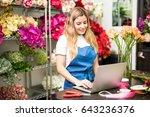 beautiful happy hispanic... | Shutterstock . vector #643236376