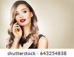 beautiful woman with dark... | Shutterstock . vector #643254838