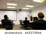 blurry focus in a meeting room... | Shutterstock . vector #643273966