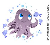 octopus and fish. vector... | Shutterstock .eps vector #643284292