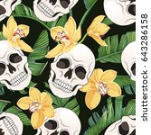 skull  yellow orchids and... | Shutterstock .eps vector #643286158