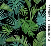 bright tropical leaves on a...   Shutterstock .eps vector #643286182