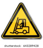 caution forklift and dangerous... | Shutterstock . vector #643289428