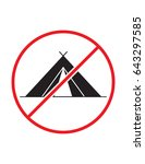 no camping allowed not tent... | Shutterstock .eps vector #643297585