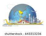bus stop in bangkok city ...   Shutterstock .eps vector #643313236