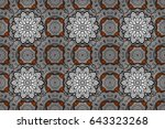 damask white orange and white... | Shutterstock . vector #643323268