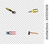 realistic tongs  pliers ... | Shutterstock .eps vector #643324636