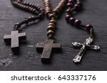 rosary with a christian cross... | Shutterstock . vector #643337176