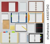 set of open realistic notebooks ... | Shutterstock .eps vector #643337242
