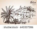 old city of ibiza town ... | Shutterstock .eps vector #643337386
