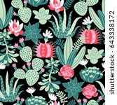 vector seamless pattern with... | Shutterstock .eps vector #643338172