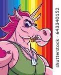 cartoon portrait of unicorn... | Shutterstock .eps vector #643340152