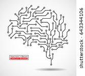 technological brain. circuit... | Shutterstock .eps vector #643344106