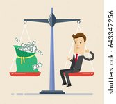 businessman and scales. ...   Shutterstock .eps vector #643347256