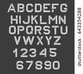vector linear font. 80's retro... | Shutterstock .eps vector #643354288