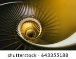 Golden Spiral Staircase In An...