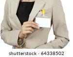 businesswoman showing her badge | Shutterstock . vector #64338502