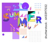 trendy vector summer cards... | Shutterstock .eps vector #643397032