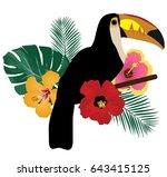 vector illustration of a toucan ... | Shutterstock .eps vector #643415125