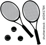 tennis equipment silhouettes  ... | Shutterstock .eps vector #64341784