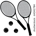 tennis equipment silhouettes  ... | Shutterstock .eps vector #64341784