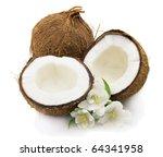 Coconut with jasmine - stock photo
