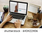 music concept on a device screen   Shutterstock . vector #643422406