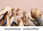 group of diverse people hands... | Shutterstock . vector #643423942