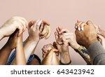 group of diverse people hands... | Shutterstock . vector #643423942
